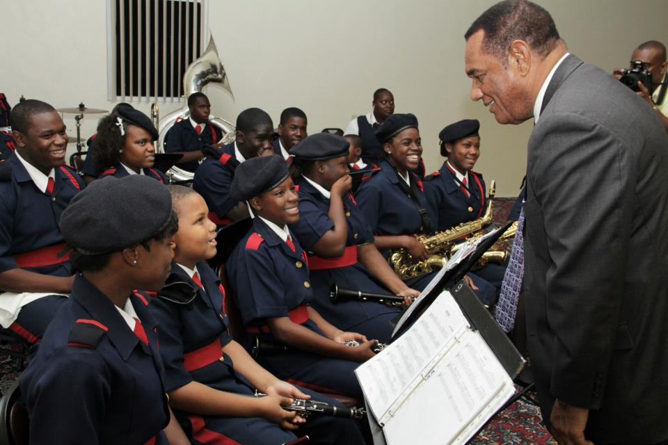 The Rt. Hon. Perry Christie, Prime Minister interacts with the Urban Renewal Youth Marching Band at the Appointment Ceremony of the Urban Renewal 2.0 Citizens Advisory Committees at the Paul H. Farquharson Conference Centre  (BIS Photo/Derek Smith)