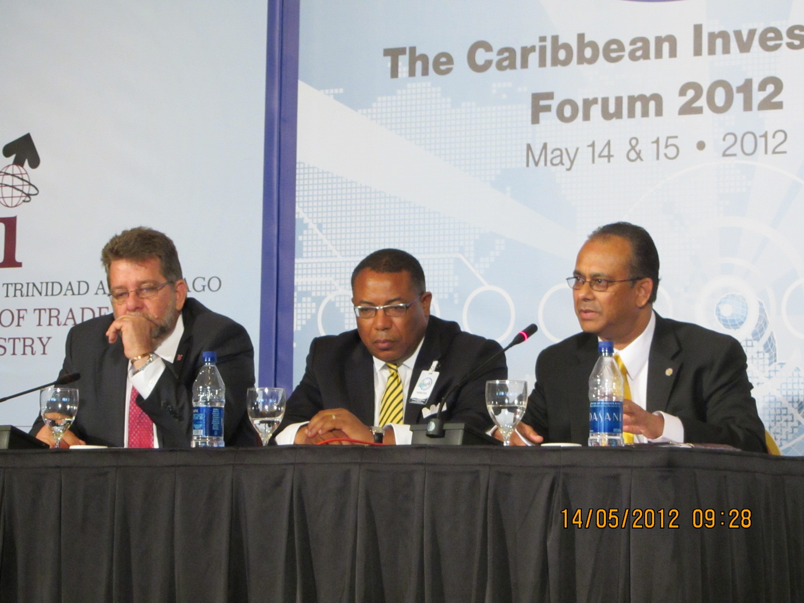 The Honourable Stephen Cadiz, Minister of Trade and Industry, Trinidad and Tobago, the HonourableAnthony Hylton, Minister of Industry, Investment and Commerce, Jamaica and ASG Amb. Albert Ramdin during a panel discussion at the Caribbean Investment Forum