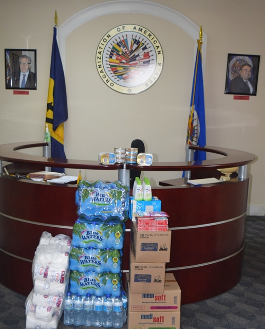 The OAS Barbados Office makes a contribution to the relief supplies for the people of Dominica, October 2017.