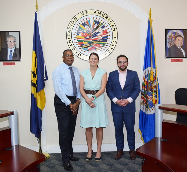 Dr. Alice Edwards centre, Head of the Convention Against Torture  Initiative Secretariat (CTI) and Mr. Sebatian Cabezas right, Representative of the Under-Secretary of the Human Rights of Chile pay a Courtesy on Mr. Francis McBarnette, OAS Representative in Barbados Nov 16 2017.