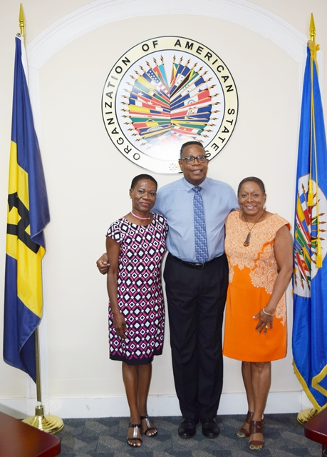 From left to right, Ms. Marietta Carrington, Chief Executive Officer, of the Substance Abuse Foundation Inc, Verdun House and Ms. Angela Sealy, Director, Clinical Service, paid a courtesy call on Mr. Francis McBarnette, OAS Representative Barbados, June 12 2018