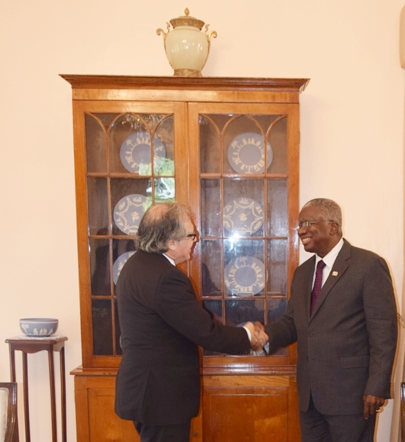 Secretary General of the OAS H.E. Luis Almagro paid a courtesy call on the Prime Minister of Barbados, The Rt. Honourable Freundel Stuart along with Mr. Francis McBarnette, OAS Barbados Representative, at the Official Residence of the Prime Minister, llaro Court,Two Mile Hill, St. Michael, Sept 19 2017
