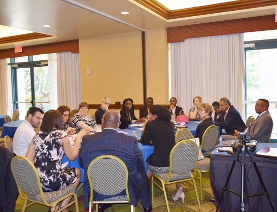 Simultaneous group discussions at the OAS Regional Forum, Towards Concrete Solutions for Addressing Youth Employment in the Caribbean. Hilton Barbados Dec 6, 2017
