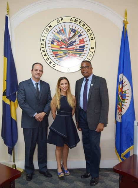 From left to right, Mr. Rafael Parada and  Ms. Ana Alvarez  of the Inter-American Drug Abuse Control Commission (CICAD), paid a courtesy call on Mr. Francis McBarnette, OAS Representative, Barbados and also held a roundtable discussion with stakeholders, on the Inter-American Program for Strengthening Gender Equality in Drug Law Enforcement Agencies (GENLEA/CICAD), June 12 2018