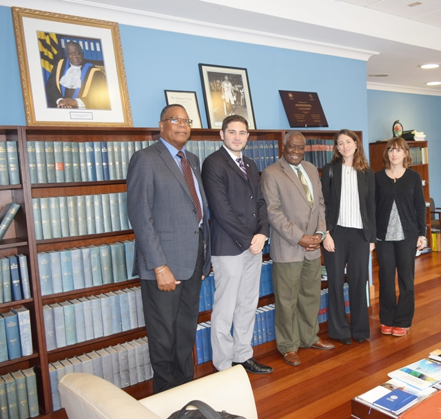 Centre for Court Innovation (CCI) and the OAS Representative pay a Courtesy Call on Sir Marston Gibson Chief Justice, of Barbados on October 24, 2017