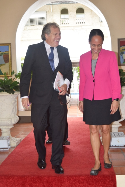 Secretary General of the OAS H.E. Luis Almagro  along with Mr. Francis McBarnette, OAS Barbados Representative,departed from llaro Court the Official Residence of the Prime Minister, after a courtesy call on the Prime Minister of Barbados, The Rt. Honourable Freundel Stuart, Sept 19, 2017