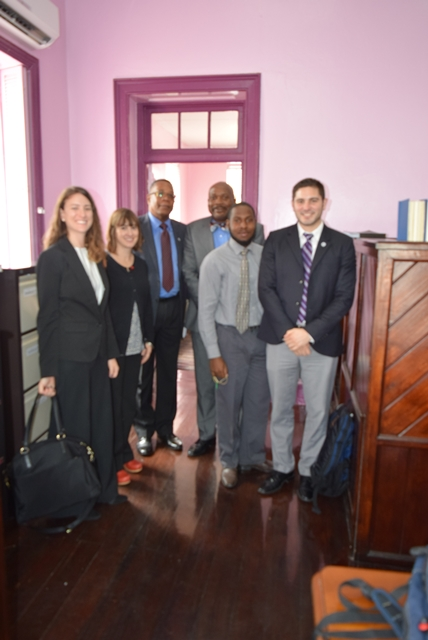 CCI Team and OAS Representative make an evaluation visit and meet with Presiding  DTC Magistrate Graveney Bannister, Oct 24 2017