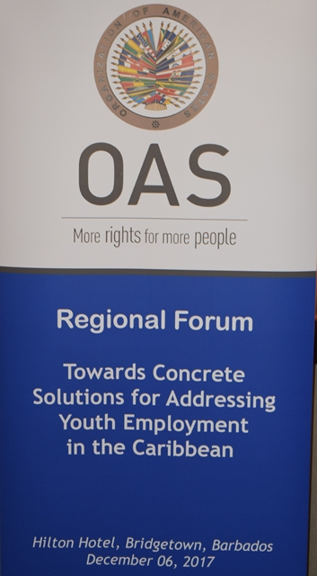 Mr. Francis McBarnette, OAS Barbados Representative made remarks at the OAS Regional Forum, Towards Concrete Solutions for Addressing Youth Employment in the Caribbean. Hilton  Barbados Dec 6, 2017