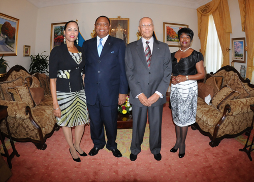 L-R Mrs. Bernedette Christies (Wife of Prime Minister Christie), Prime Minister of The Bahamas Perry Gladstone Christie, Governor General Sir Arthur Foulkes and Lady Foulkes