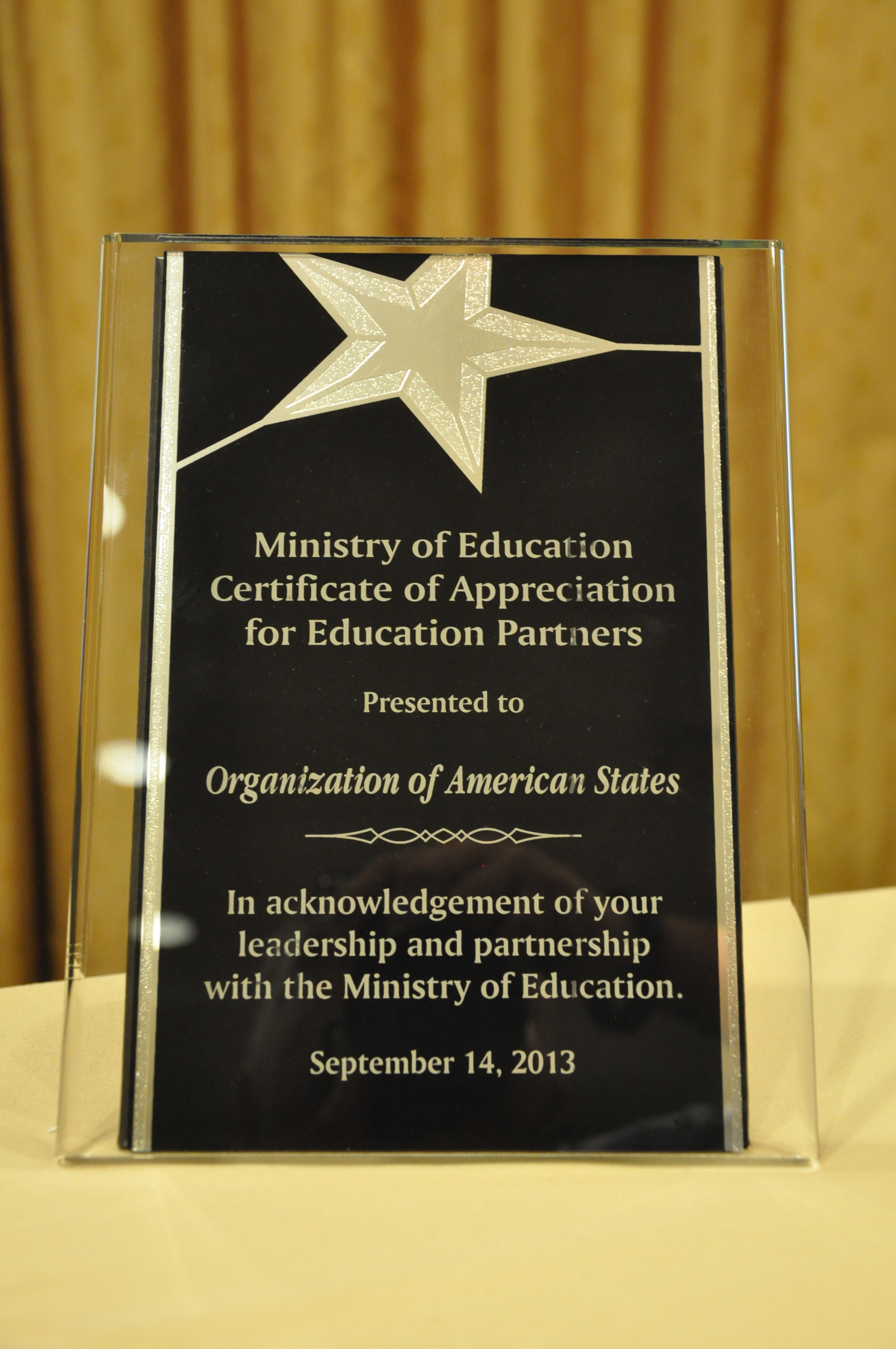 Organization of American States Received Education Partners Award