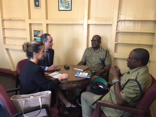 OAS/CICAD personnel held a Meeting with Assistant Commissioner of Police Mitchell and Inspector Rogers at the OAS Office in St Kitts and Nevis, Tuesday, February 20, 2018.
