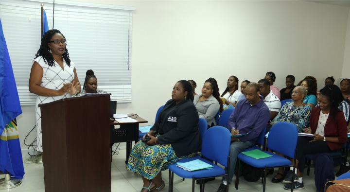 OAS Coutry Representative, Ms Phyllis Baron hosted 30 teachers from The Bahamas' Ministry of Education Social Sciences Summer Professional Development Workshop at the OAS National Office on Village Road.  During the opening session Ms. Baron outlined the role of the OAS in The Bahamas to the participants.