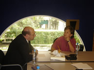 The Rapporteur on the Rights of Indigenous Peoples, José Zalaquett, meeting with the Director of the National Commission for the Development of the Indigenous Peoples of Mexico, Xóchitl Gálvez, on August 31, 2005.